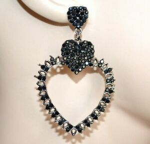 BOUCLES-d-039-oreilles-NOIRES-coeurs-femme-cristaux-strass-black-earrings-CC80