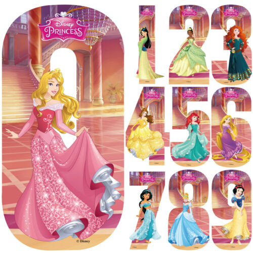 Disney Princess Number Stickers Wall Wheely Wheelie Bin Decal Learning Toys