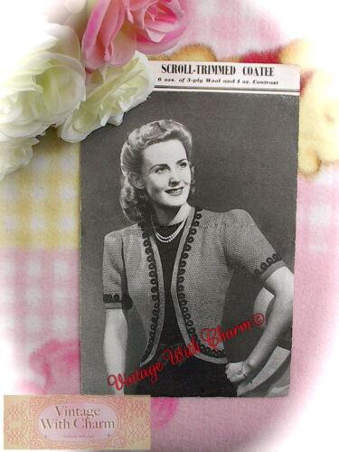 Fit 34-36in Vintage 40s Knitting Pattern Scroll Trimmed Coatee Bust Bolero
