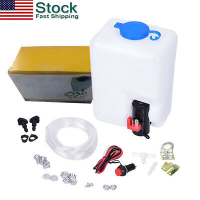12V Windshield Washer Auto Motor Pump Bottle Kit For Window Cleaning