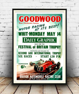 Goodwood-motor-racing-Vintage-advertising-Wall-art-poster-Reproduction