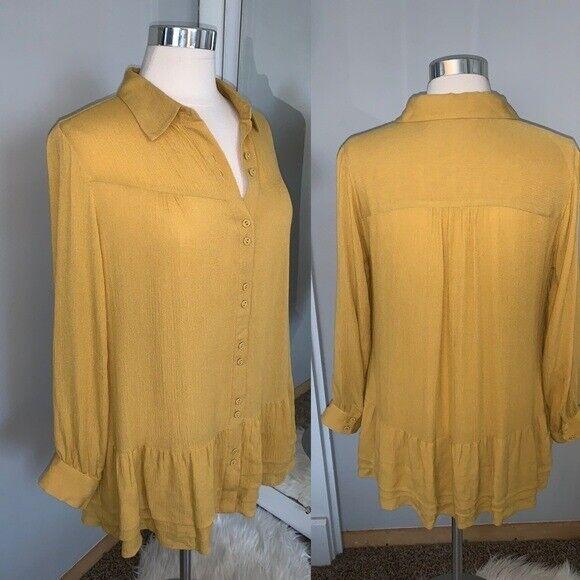 Soft Surroundings mustard yellow tunic blouse Sz M - image 10