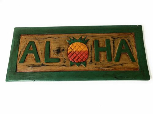 """Aloha Sign 16/"""" w// Pineapple Greeting Welcome Sign#bds1202740"""