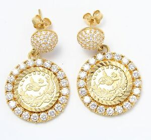 21k Yellow Gold Arabic Coin Ladies Hanging Earrings eBay