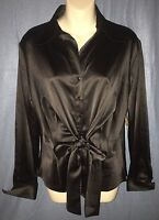 Samuel Dong Black Satin Tie Front Long Sleeve Blouse Medium (bd293)