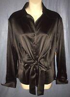 Samuel Dong Black Satin Tie Front Long Sleeve Blouse Medium (bd293)