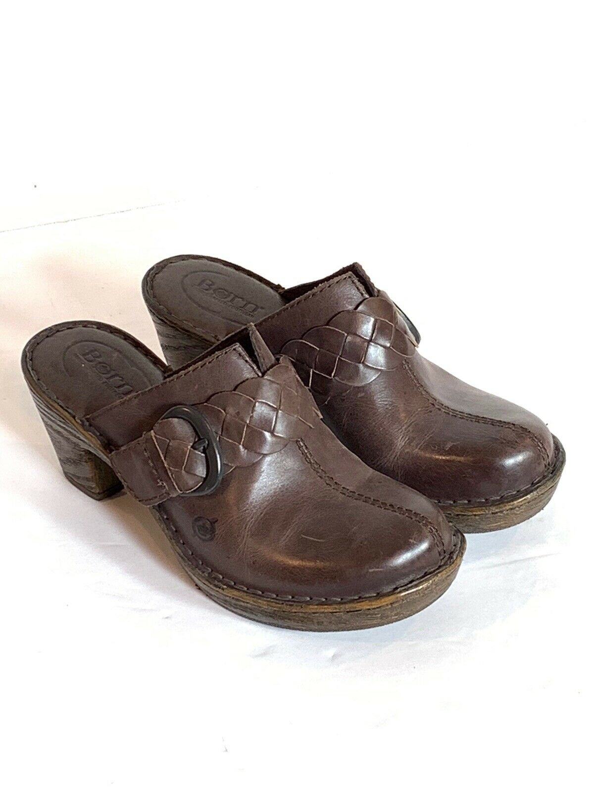 Born Brown Leather Emme Mules Women's Size 6