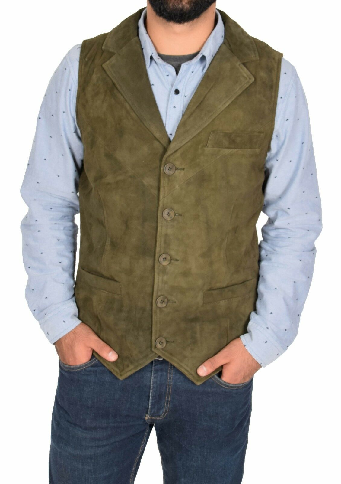 herren Lightweight Real Suede Traditional Style Classic Waistcoat Gilet Vest Grün