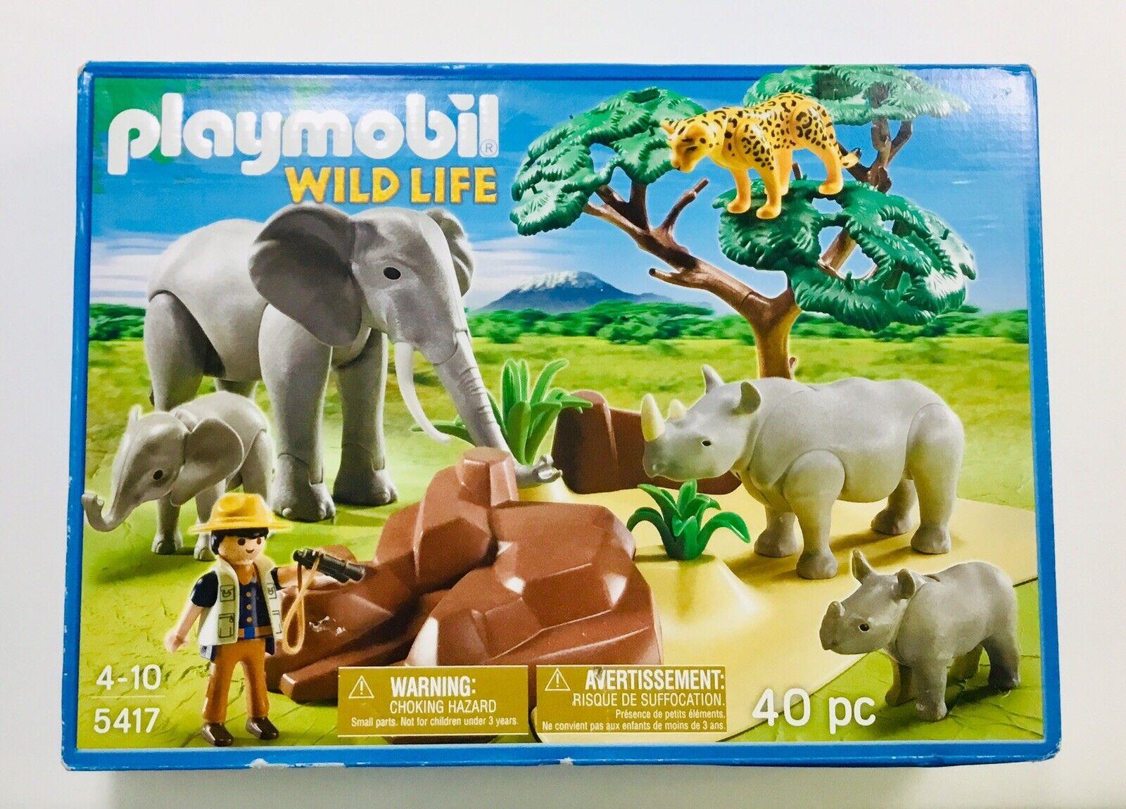 2013 Playmobil Wildlife  5417 African  Savannah Elephant Rhino costruzione Set MIP  a buon mercato