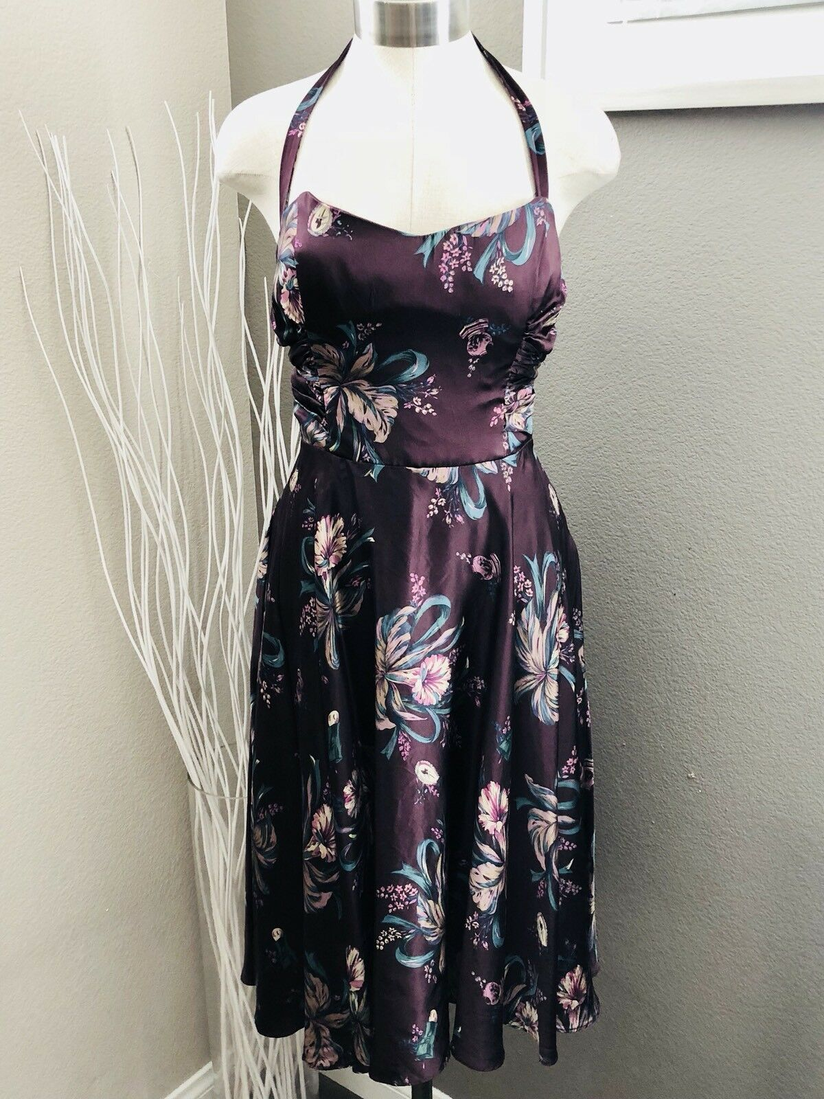 Vintage Betsey Johnson 40's 50's Pruple Silk Floral Lily Halter Strapless Dress