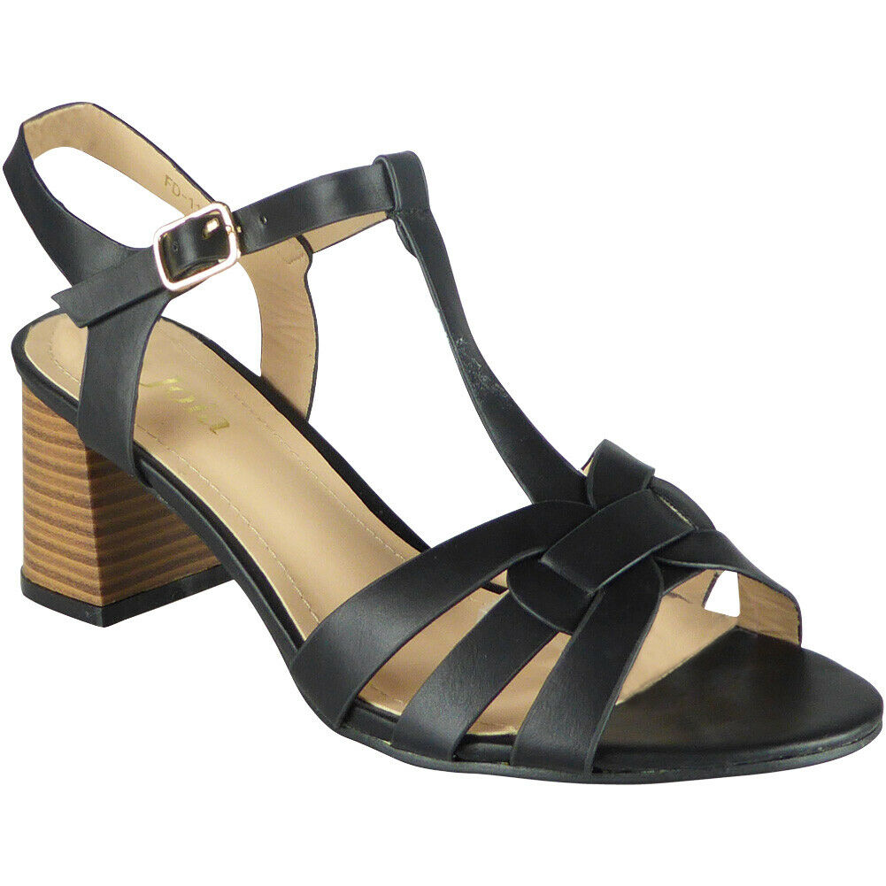 Ladies Party Sandals Buckle Casual Work Womens T-Bar Summer High Heel Shoes Size
