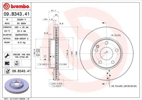2x BREMBO Bremsscheibe COATED DISC LINE 09.B343.41 für MERCEDES KLASSE W176 W246