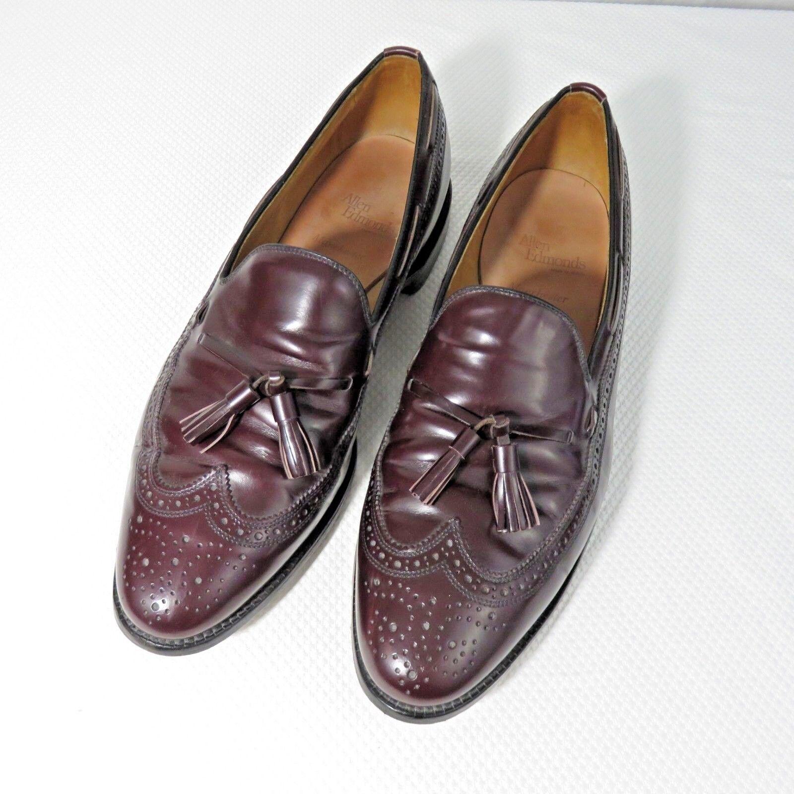 Allen Edmonds Manchester Wing Tip Tasseled Loafer Mens 13 D Dress shoes Burgundy