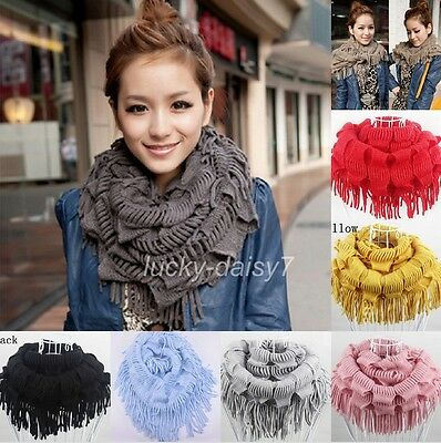 Winter Womens Warm Knit Fringe Tassel Neck Wrap Circle Snood Scarf Shawl