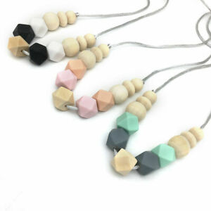 Hexagon Silicone Beads Necklace Wood Teething Beads Baby Chewy Jewelry Teether
