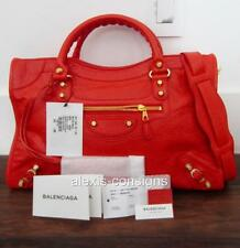 BNWT Balenciaga City Rouge Coquelicot Leather Giant Gold Hardware Satchel Bag