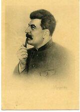 1939 Stalin Smoking Pipe  Russian Super RARE postcard