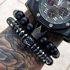 Men-Bracelet-Crown-Skull-Skeleton-Beads-Cuff-Charm-Bracelets-Bangle-Jewelry-BH