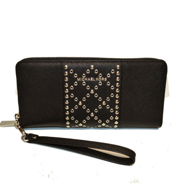 c55bcda3899c61 Michael Kors Money Pc Travel Continental Wallet Studded Black Leather $178  NEW