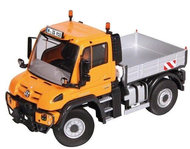 NZG910 65 - Camion porteur plateau MERCEDES Unimog U400 de couleur Orange - 1 50