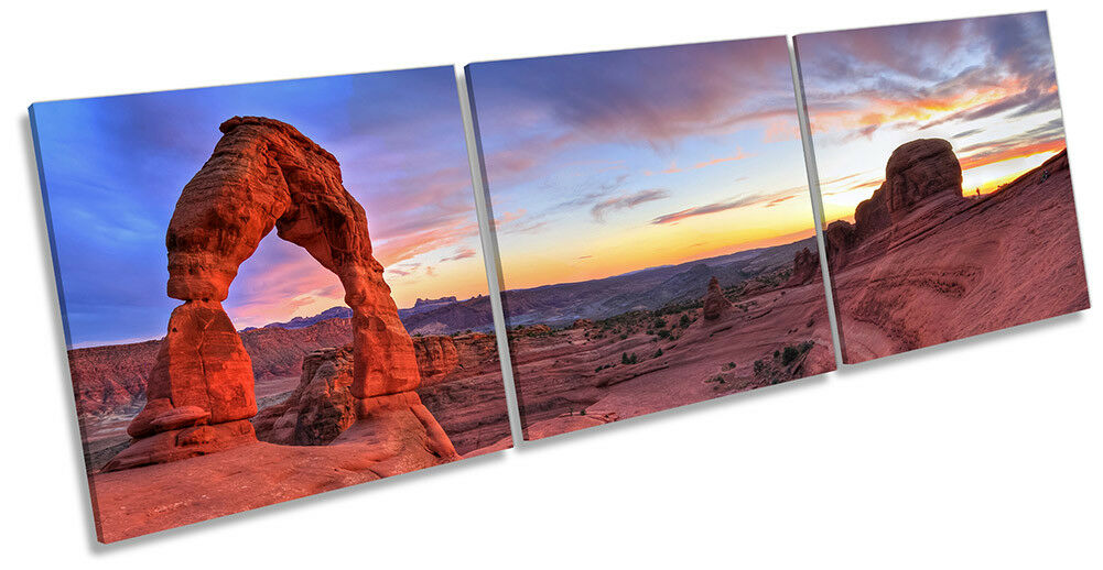 Delicate Arch Utah Sunset Picture CANVAS WALL WALL WALL ART Triple Print 43e3e2