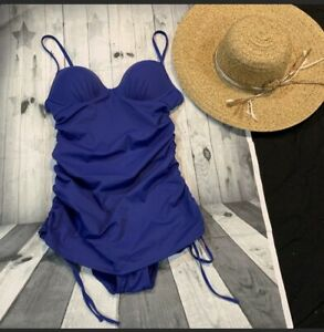 Love-your-Assets-Spanx-One-Piece-Swim-Bathing-Suit-Small-Blue