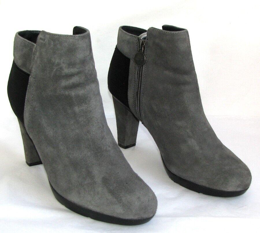 GEOX Ankle boots heels 10 cm plateau leather velvet grey & black 40 - MINT