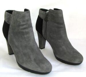 GEOX-bottines-talons-10-cm-plateau-cuir-velours-gris-amp-noir-40-EXCELLENT-ETAT