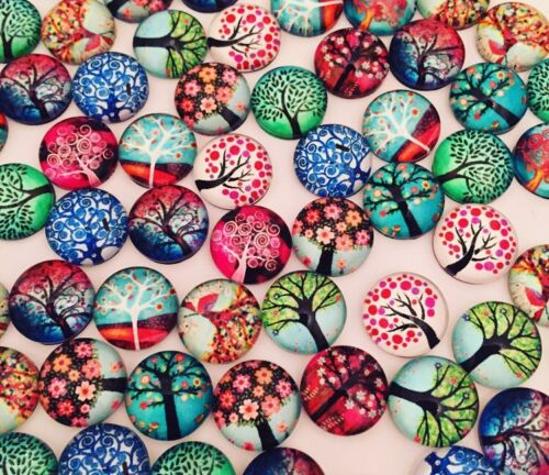 20 TREE OF LIFE CABOCHONS 12MM GLASS//FLATBACK//CRAFT//JEWELLERY//GEMS//CHARMS
