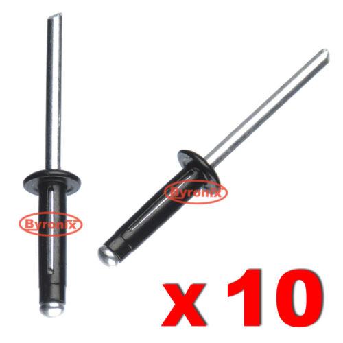 10 X Remaches Pop Para VOLVO Metal Aluminio Negro Split Tipo 4.8mm X 20mm Negro