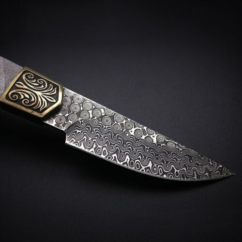Details about  /New Rose striated Damascus Steel fixed Blade Semi-finished Handmade DIY