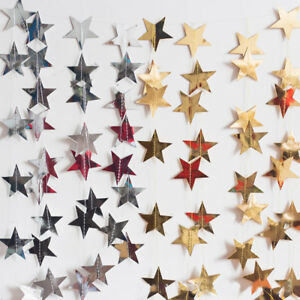 13Ft-Sparkle-Five-pointed-Paper-Star-Chain-Garland-Birthday-Wedding-Party-Decor