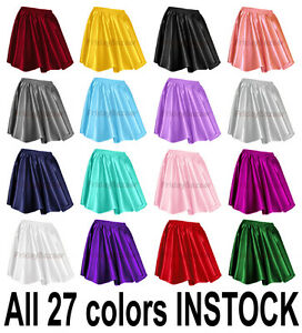 Women-Lady-Satin-Pleated-Retro-High-Waist-Shiny-Mini-Skirt-Boho-S-3XL-27-Color