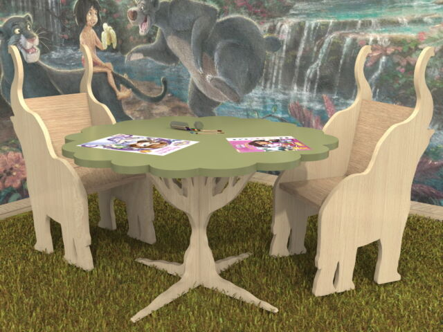 Awesome Jungle Kids Boys Girls Table Chairs Plans Pattern Cnc Laser Scrollsaw Diy Caraccident5 Cool Chair Designs And Ideas Caraccident5Info