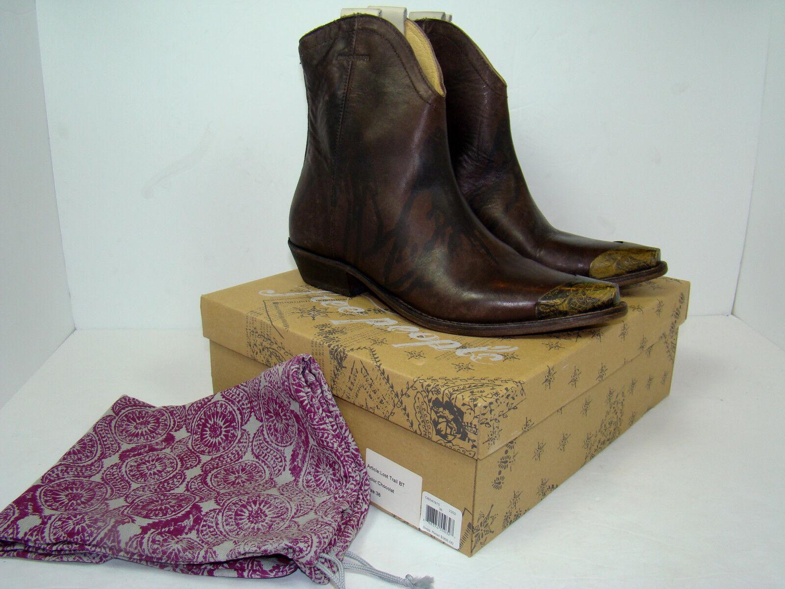 NIB NEW Free People Lost Trail Ankle Boot Brown Western Metal Distressed 38   8