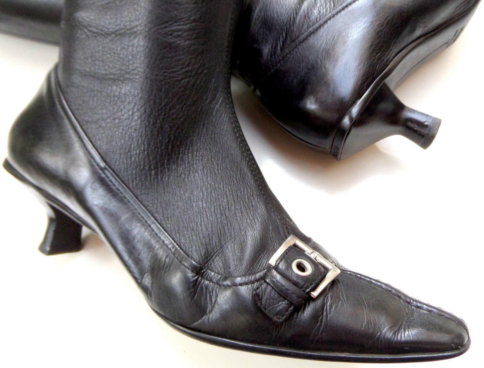 T O P PRADA Damen Leder Stiefel Art i Gr e 38 e Gr v t l 38.5 S C H W A R Z 96b867