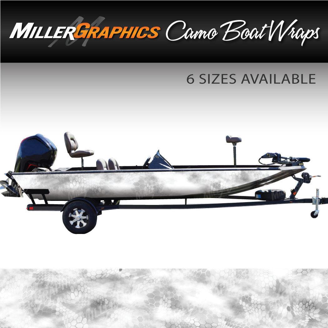 Camo Boat Wrap Kit  Chameleon Snow  3M Cast Vinyl - 6 Sizes Available
