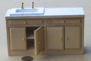 1-12-Scale-Pine-Colour-Sink-Unit-Tumdee-Dolls-House-Kitchen-Accessory-DF844
