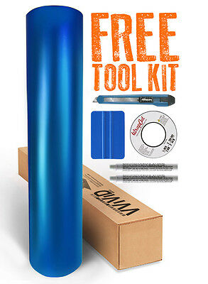 VVIVID8 blue chrome satin matte car wrap vinyl 10ft x 5ft conform + free tools
