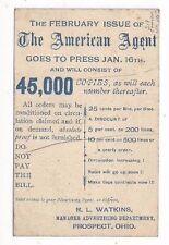 1893 UX11 Postal Card, Prospect Ohio Advertising The American Agent 25c per Line