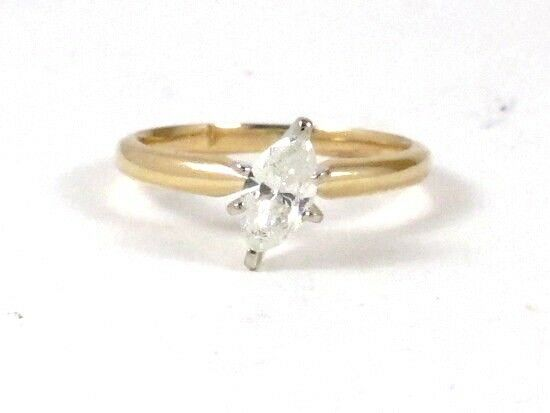 14k Yellow gold Marquise Diamond Solitaire Engagement Ring .52ct