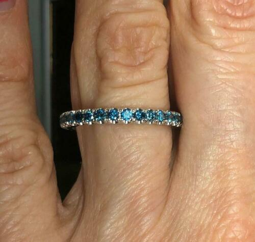 2Ct Round Cut Blue Diamond Full Eternity Wedding Band 14K White Gold Finish