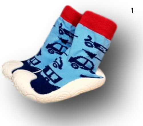 Baby Infant Boy Indoor Outdoor Non Slip Socks Slippers With Rubber Sole 4-5.5UK