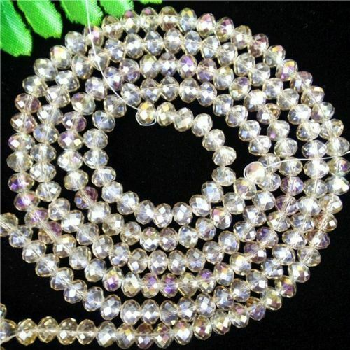 2 Strand Multicolor Choice 6x5mm Crystal Glass Facet Wheel Beads 18.89inch BR46