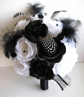 20 pc Wedding Bouquet Bridal Silk flowers BLACK IVORY FEATHER decoration package