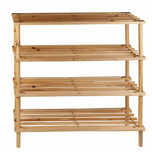 Image Is Loading 4 Tiers Wooden Shoes Slatted Organisers Storage Rack