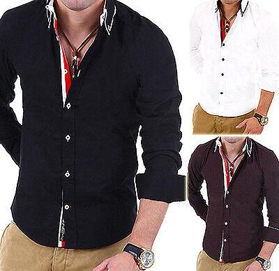 CARISMA Hemd Slim Fit Kontrast Stripe Polo Shirt Clubwear Schwarz/Weiß/Navy NEU