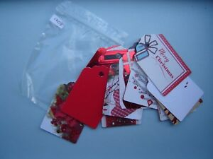 Christmas Gift Tags Handmade.Details About 15 Red Christmas Gift Tags Luggage Labels Handmade Shabby Chic