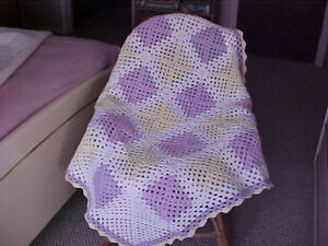 BRAND-NEW-HAND-CROCHET-AFGHAN-THROW-BLANKET-40-034-x-40-034-VIOLET-YELLOW-amp-WHITE