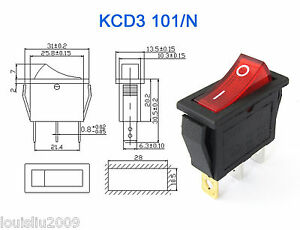 5pcs KCD3 Red Button On-Off 3Pin DPST Boat Car Rocker ...